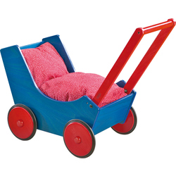 Doll Pram Blue/Red